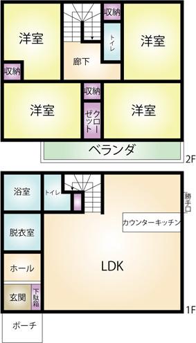 菊川市下平川の戸建て物件間取図です。